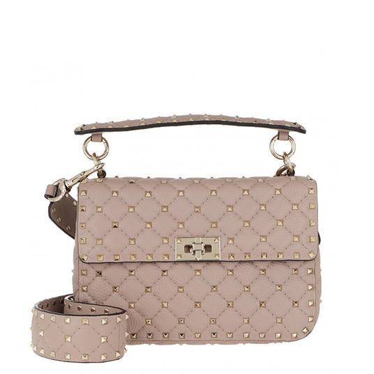 Rockstud Shoulder Bag Leather Poudre